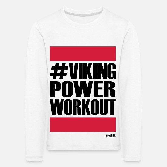 Muskel Langarmshirts - VIKING POWER WORKOUT - Kinder Premium Langarmshirt Weiß