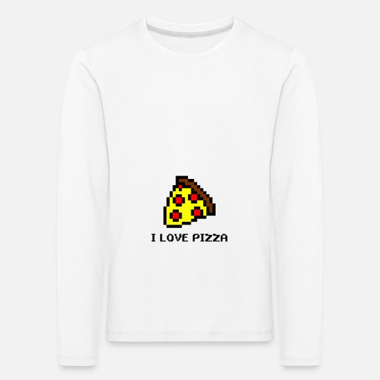 Pizza Long sleeve shirts - Pizza fast food delicious greasy cheese salami calories - Kids' Premium Longsleeve Shirt white