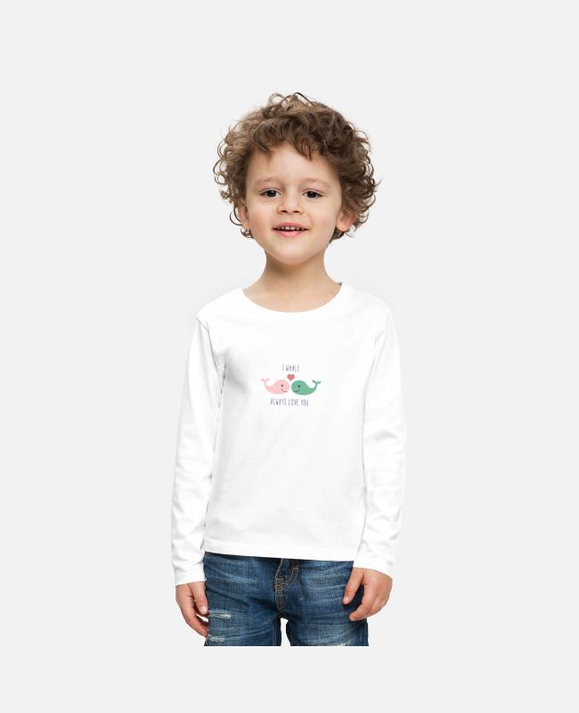 Heart Long-Sleeved Shirts - Cute whales love in love saying love gift couple - Kids' Premium Longsleeve Shirt white