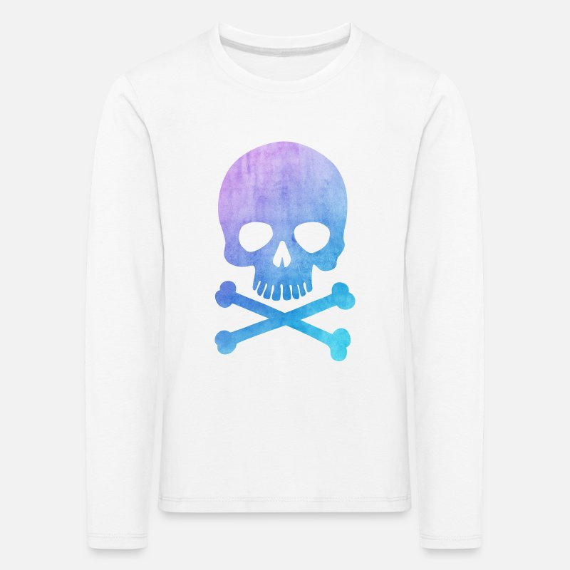 Bestsellers Q4 2018 Long sleeve shirts -  Trendy & Cool Water Color Hipster Skull / Art - Kids' Premium Longsleeve Shirt white
