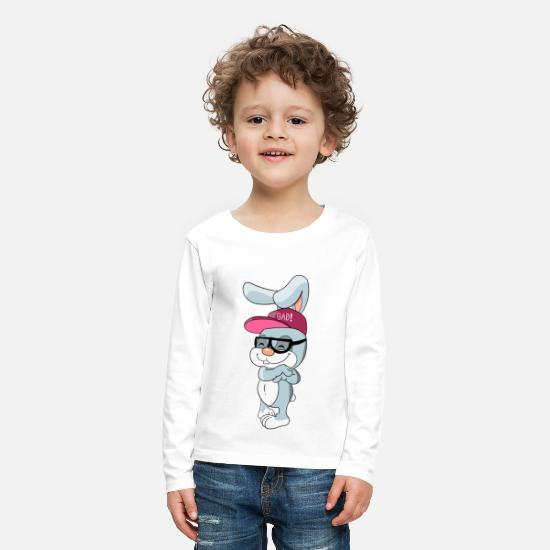 Pet Long Sleeve Shirts - Cool bunny rabbit with cap and glasses - Kids' Premium Longsleeve Shirt white
