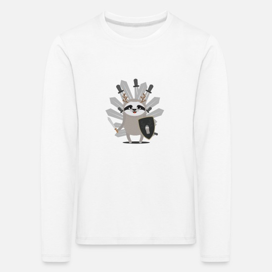 Medieval Long Sleeve Shirts - Medieval Sloth Knight with swords - Kids' Premium Longsleeve Shirt white