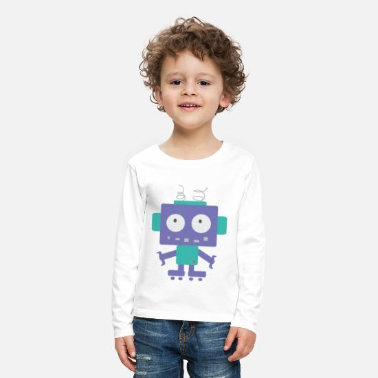 School Boys Long sleeve shirts - Cute Little Robot - Kids' Premium Longsleeve Shirt white