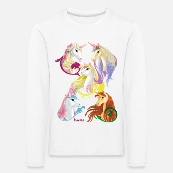 Rainbow Long Sleeve Shirts - Schleich bayala Unicorns and Pegasus horses - Kids' Premium Longsleeve Shirt white