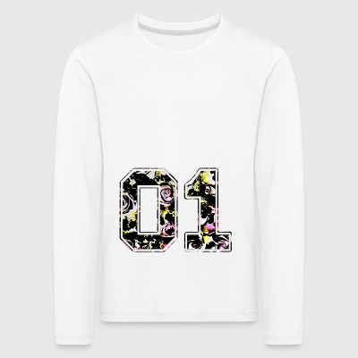 Number 01 / Number Number One College Roses Pattern - Kids' Premium Longsleeve Shirt