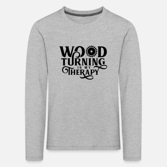 Gift Idea Long sleeve shirts - wood turning - Kids' Premium Longsleeve Shirt heather grey