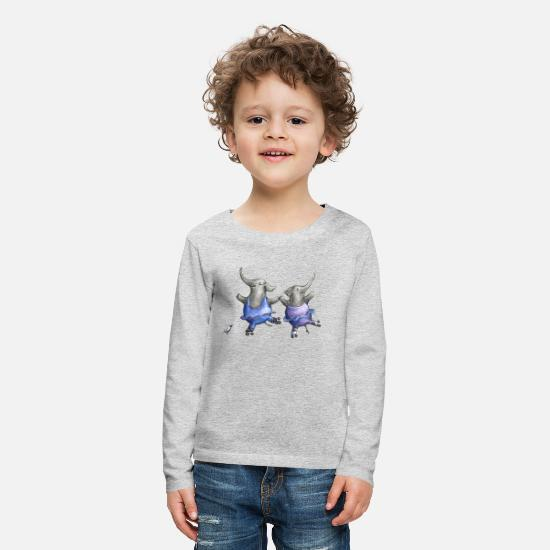 Girl Long sleeve shirts - Roller skate elephant dance - Kids' Premium Longsleeve Shirt heather grey