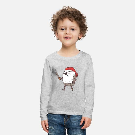 Pirate Long sleeve shirts - Sushi pirate funny sea reaper Japan food - Kids' Premium Longsleeve Shirt heather grey