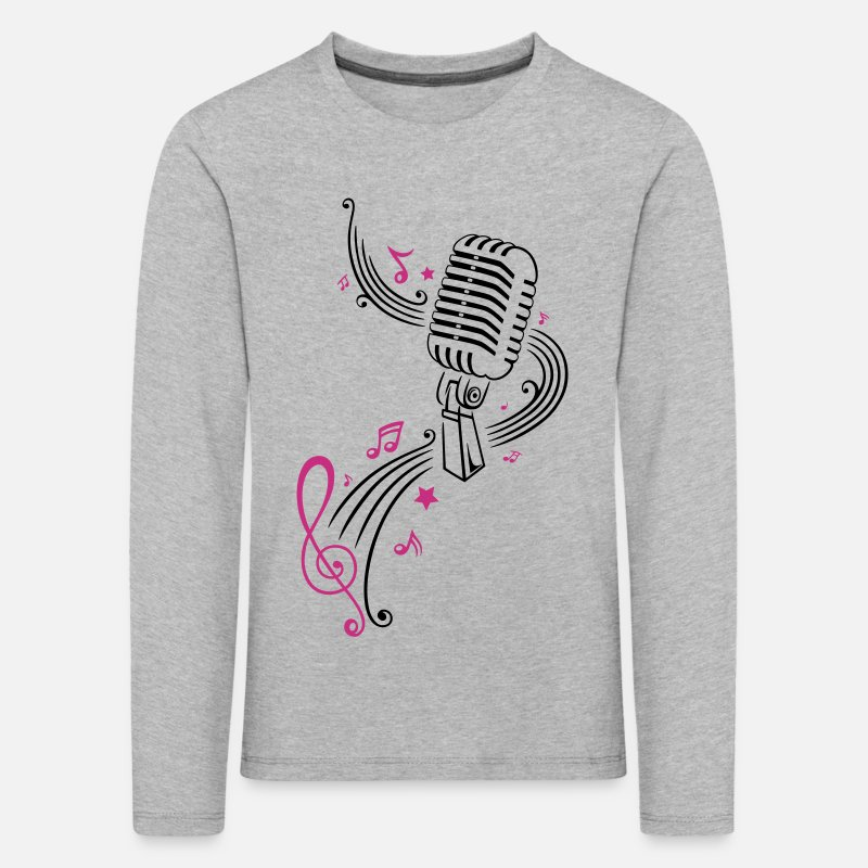 Vintage Long Sleeve Shirts - Retro microphone with music notes and clef. - Kids' Premium Longsleeve Shirt heather grey