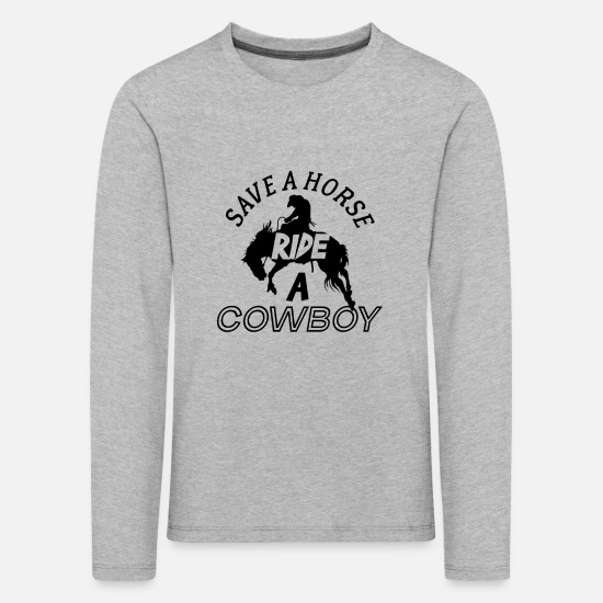 Single Long sleeve shirts - Save A Horse Ride A Cowboy - Kids' Premium Longsleeve Shirt heather grey