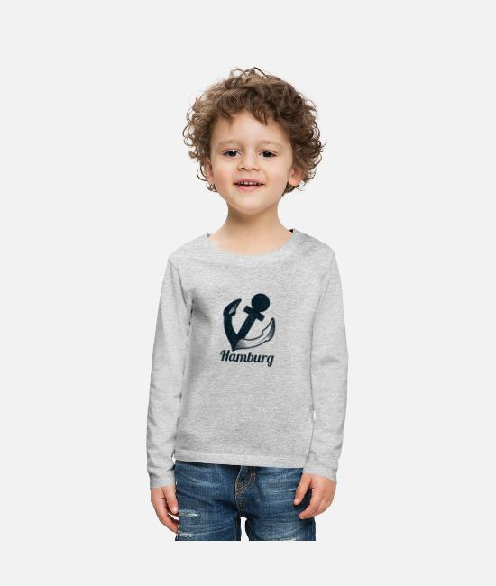 Hamburger Long-Sleeved Shirts - Hamburg anchor - Kids' Premium Longsleeve Shirt heather grey