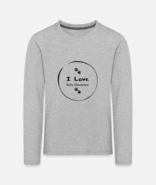 Obedience Long-Sleeved Shirts - I love Rally Obedience - Kids' Premium Longsleeve Shirt heather grey