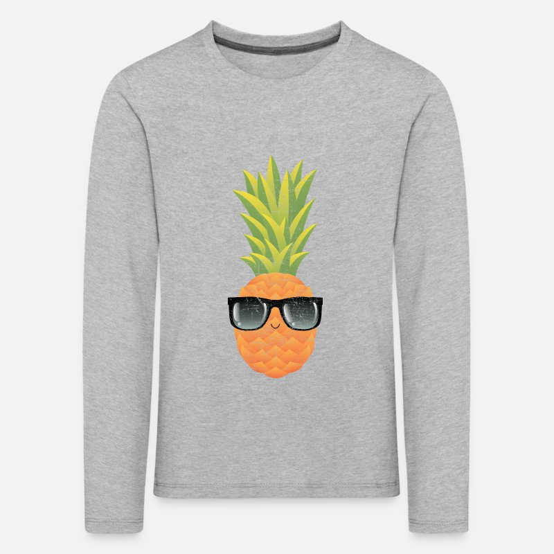Nerd Long Sleeve Shirts - Pineapple With Sunglasses | Cool Illustration - Kids' Premium Longsleeve Shirt heather grey