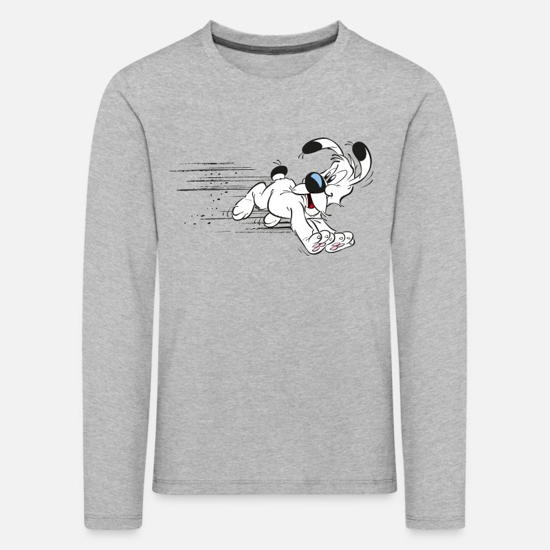 Officialbrands Long Sleeve Shirts - Asterix - Dogmatix on the Run - Kids' Premium Longsleeve Shirt heather grey