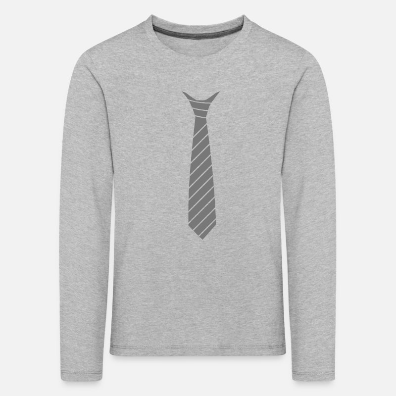 Cravate Manches longues - Cravate illusion - T-shirt manches longues premium Enfant gris chiné