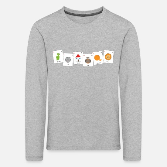 House Long sleeve shirts - Alphabet cards - Kids' Premium Longsleeve Shirt heather grey