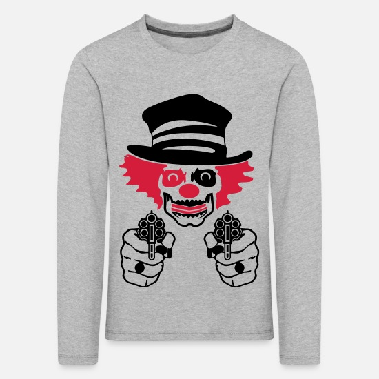 Clown Langarmshirts - bad circus clown - Kinder Premium Langarmshirt Grau meliert