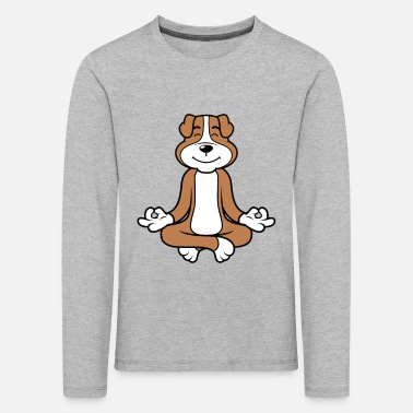Male Puppy Dog Puppy Yoga meditation dog puppy dog - Kids' Premium Longsleeve Shirt