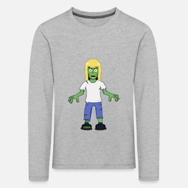 Evil Zombie Girl with Blonde Hair - Kids' Premium Longsleeve Shirt
