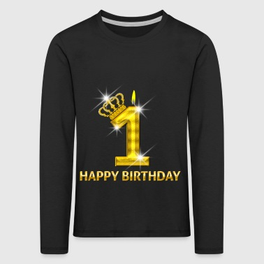 1 - Happy Birthday - Geburtstag - Zahl Gold - Kinder Premium Langarmshirt