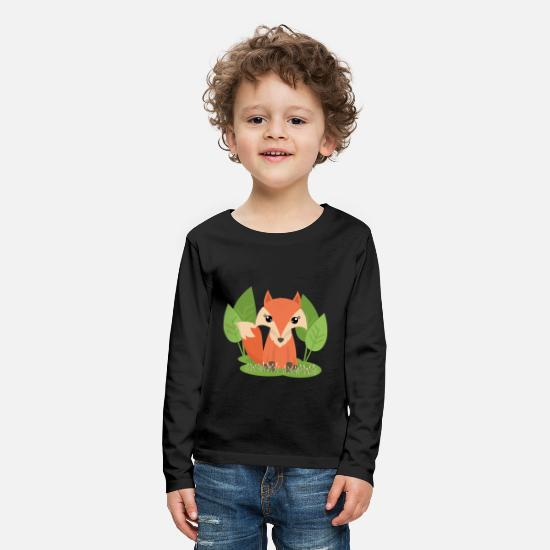 Forest Long sleeve shirts - Fox forest nature gift idea - Kids' Premium Longsleeve Shirt black
