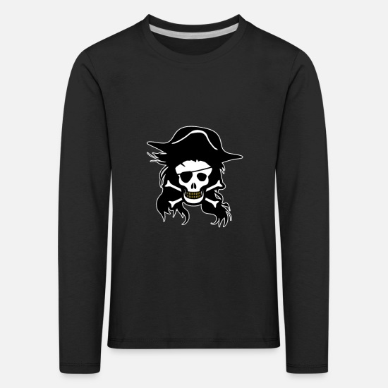 Gold Long sleeve shirts - pirate skull - Kids' Premium Longsleeve Shirt black