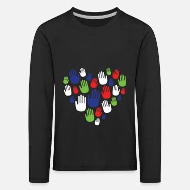 Hand Retreating Hand Heart Shape Volunteer Gift - Kids' Premium Longsleeve Shirt