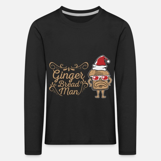 Christmas Carols Long sleeve shirts - Gingerbread man - Kids' Premium Longsleeve Shirt black