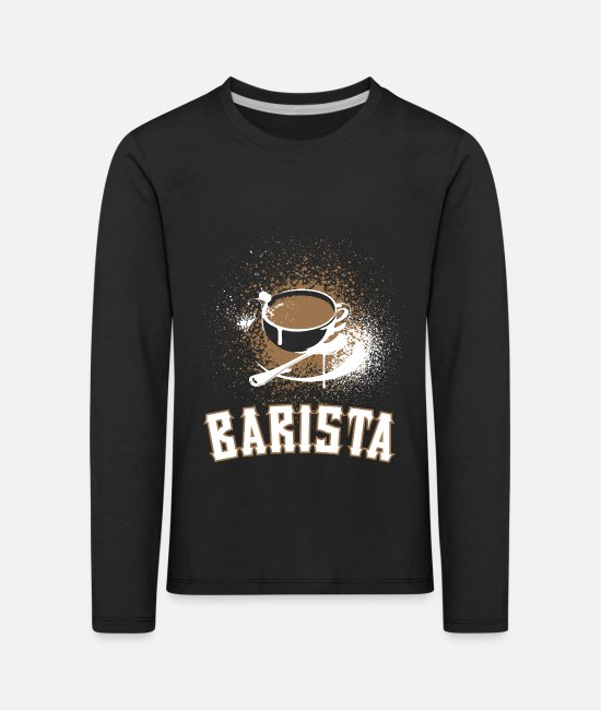 Coffee Bean Long sleeve shirts - Barista Coffee Drink Coffee Cup Gift Junky - Kids' Premium Longsleeve Shirt black