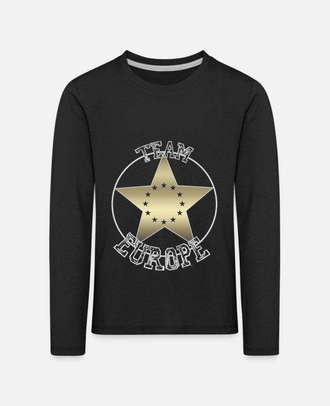 EU Long-Sleeved Shirts - Europe Flag Star Team Europe EU Eurasia Euro - Kids' Premium Longsleeve Shirt black