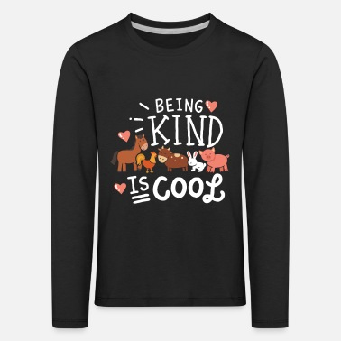Being Kid Is Cool Funny Vegan Shirt Gift - Maglietta maniche lunghe premium per bambini