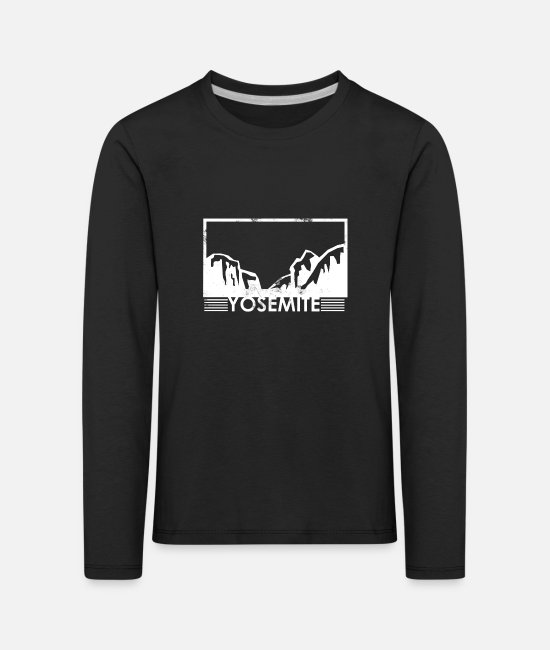 Mountains Long-Sleeved Shirts - Yosemite National Park Minimalist High Fashion - Kids' Premium Longsleeve Shirt black
