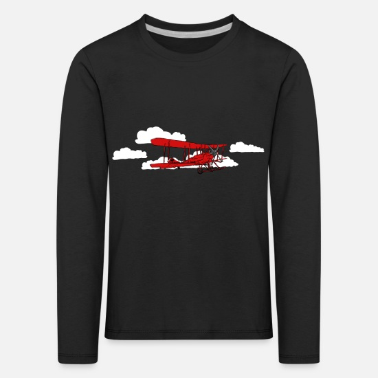 Skies Long sleeve shirts - Red Biplane / Red Vintage Plane (DDP) - Kids' Premium Longsleeve Shirt black