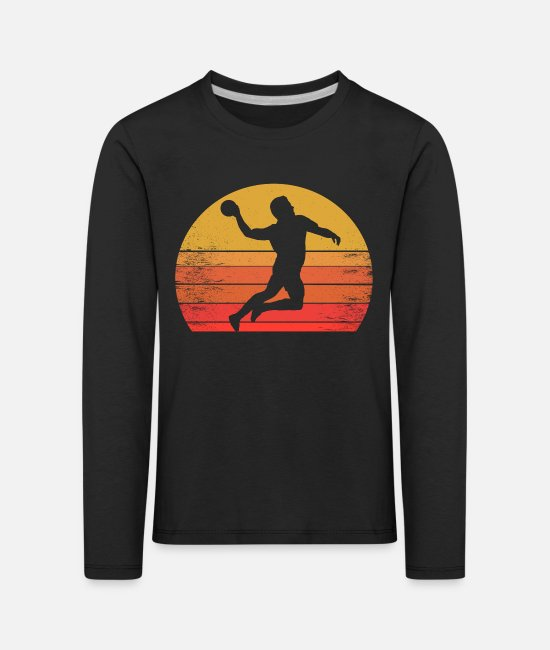 Training Long-Sleeved Shirts - Handball player in the sunrise, sunset - Kids' Premium Longsleeve Shirt black