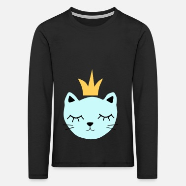 Blue cat with crown - Kids' Premium Longsleeve Shirt