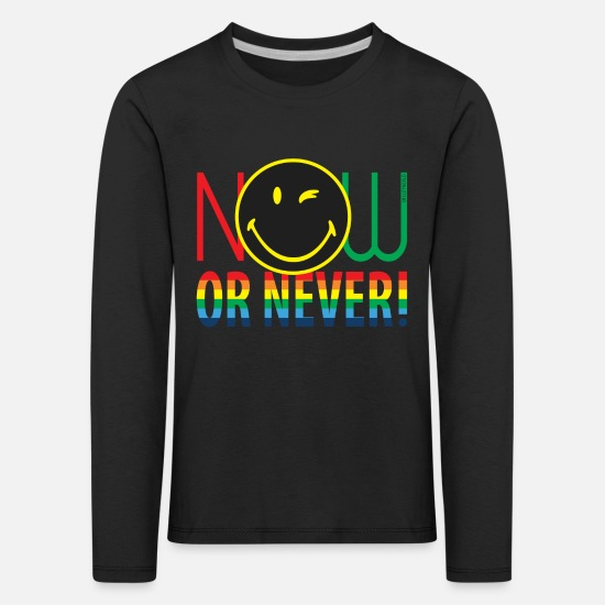 Change Shirts met lange mouwen - SmileyWorld Now Or Never - Kinderen premium longsleeve zwart