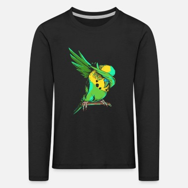 Budgie Dabbing Budgie - Funny Dab Budgerigar Owner Gift - Kids' Premium Longsleeve Shirt