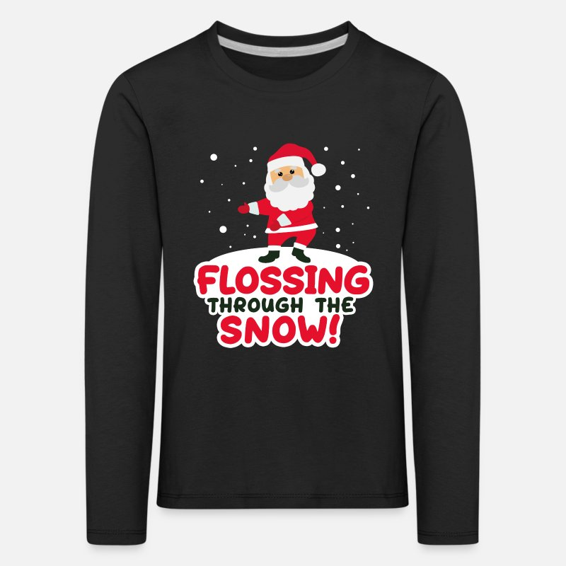 Christmas Long Sleeve Shirts - Flossing Through The Snow - Floss Christmas Jumper - Kids' Premium Longsleeve Shirt black