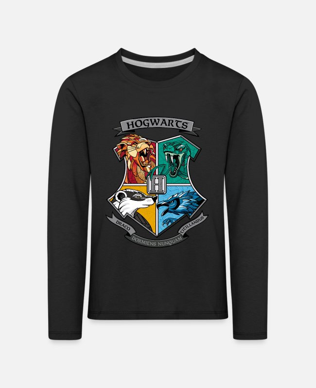 Official License Shirts met lange mouwen - Harry Potter Hogwarts Logo - Kinderen premium longsleeve zwart
