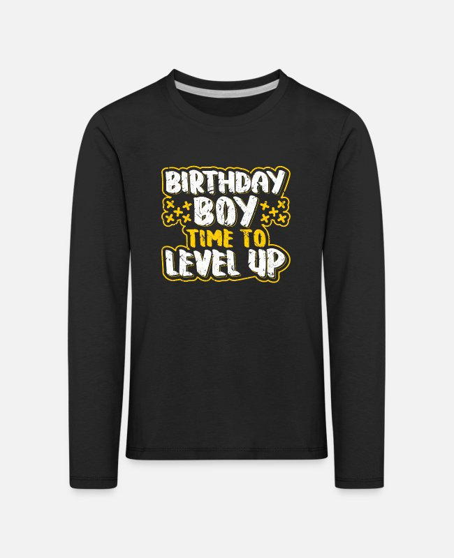 Cumpleaños Camisas de manga larga - Birthday Boy Time To Level Up Gamer Boy Gift - Camiseta de manga larga premium niño negro