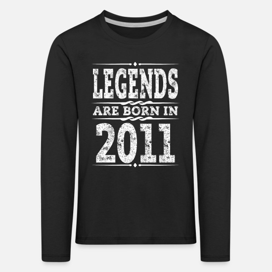 Birthday Long Sleeve Shirts - legends are born in 2011 - Kids' Premium Longsleeve Shirt black