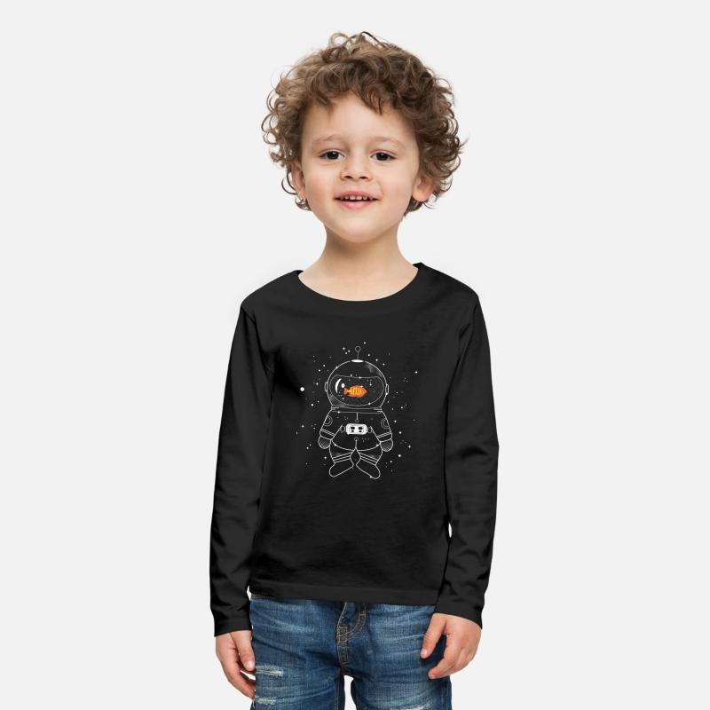 Bestsellers Q4 2018 Long Sleeve Shirts - Astronaut with goldfish  - Kids' Premium Longsleeve Shirt black