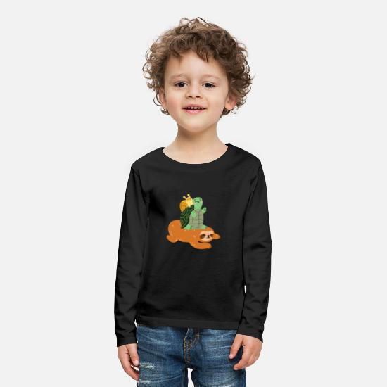 Turtle Long Sleeve Shirts - Funny turtle sloth snail - gift - Kids' Premium Longsleeve Shirt black