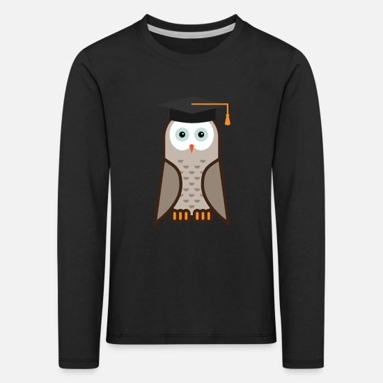 Feather Long sleeve shirts - Owl with hat | Eagle owl | Bird | Little owl | hunt - Kids' Premium Longsleeve Shirt black