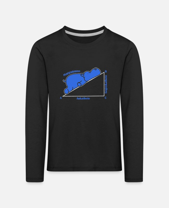 Maths Teacher Long-Sleeved Shirts - Adjacent opposite hypotenuse hippopotamus - Kids' Premium Longsleeve Shirt black