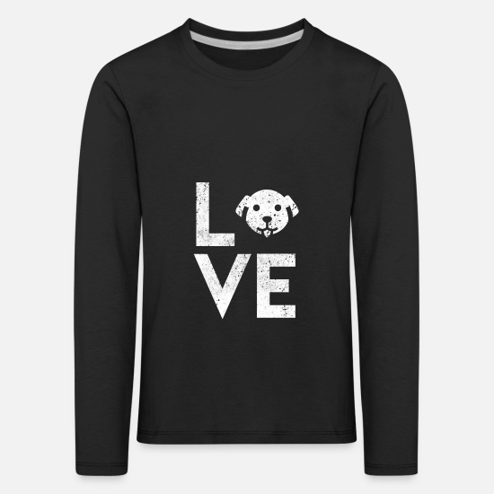 German Shepherd Long sleeve shirts - Dogs Love I Dog Mum puppy puppy dog - Kids' Premium Longsleeve Shirt black