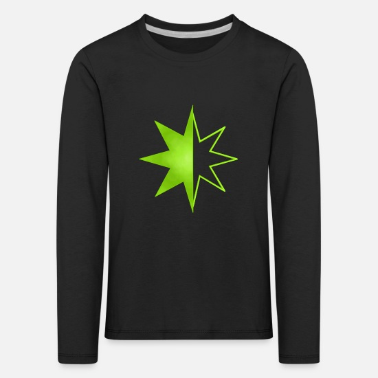 Green Long sleeve shirts - Green star - Kids' Premium Longsleeve Shirt black