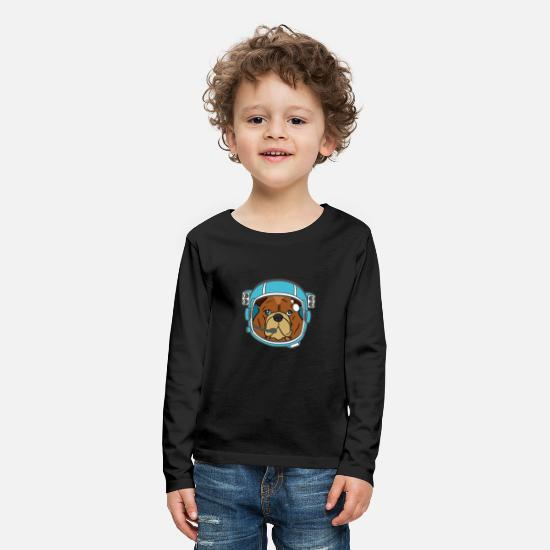 School Boys Long sleeve shirts - Bulldog Bulldog Austronaut Dog Gift - Kids' Premium Longsleeve Shirt black