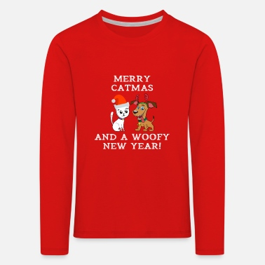 Woofy Merry Catmas And Woofy New Year Cat Dog Owner - Kids' Premium Longsleeve Shirt