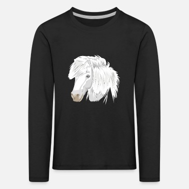 Pony Horse Head White Mare White Horse Thoroughbred Pony - Kids' Premium Longsleeve Shirt